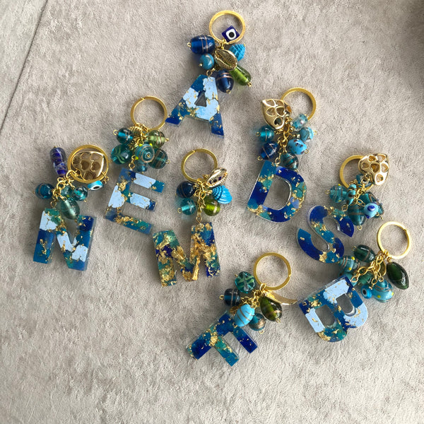 Letter Charm Key Chain