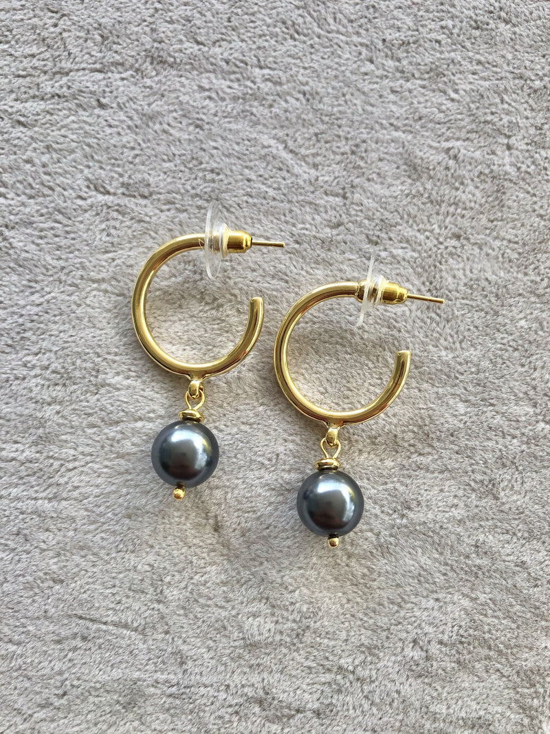 Gray Mallorca Pearl Hoop Earrings