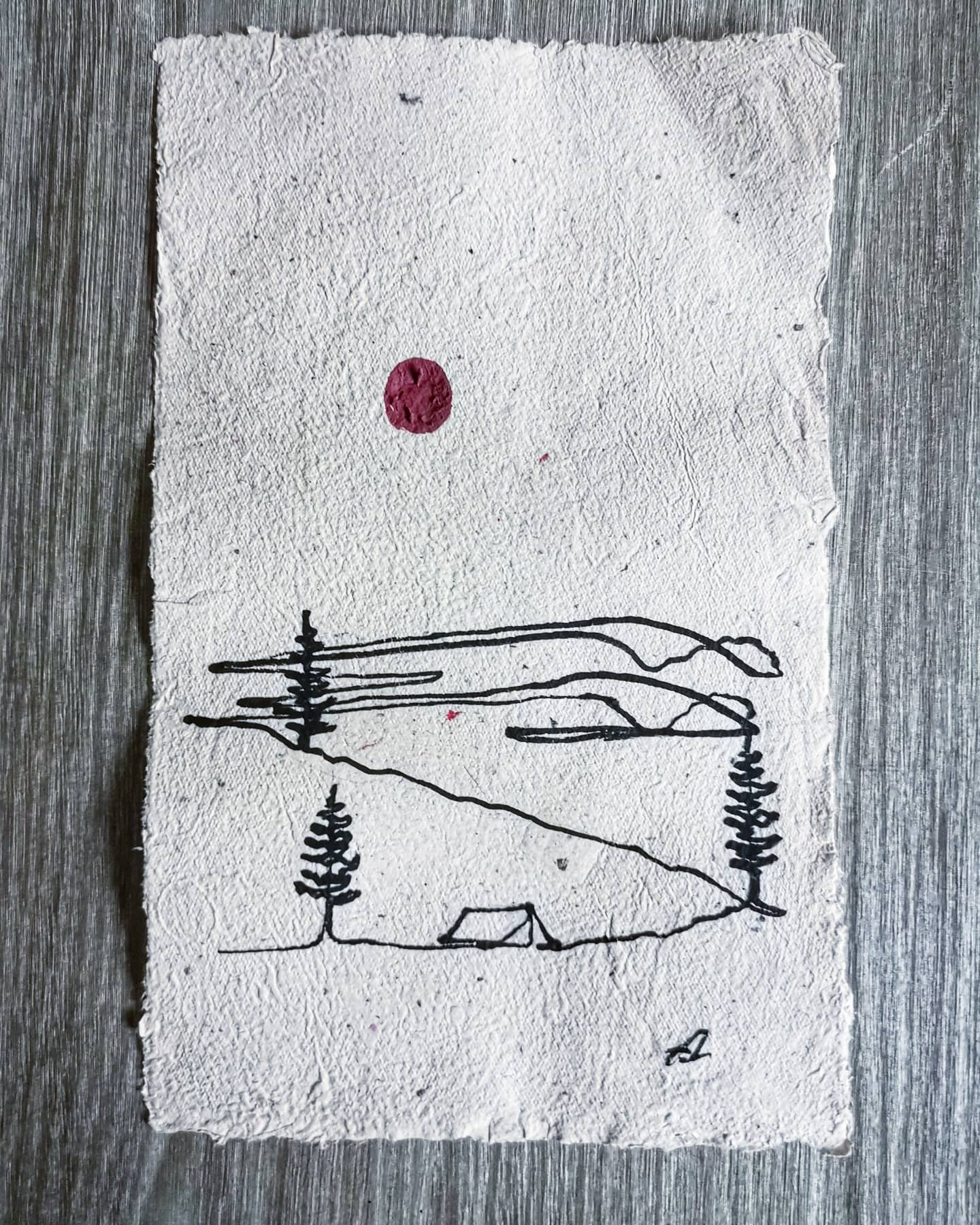 Camping scene Continious line on handmade recycled paper Original Artwork