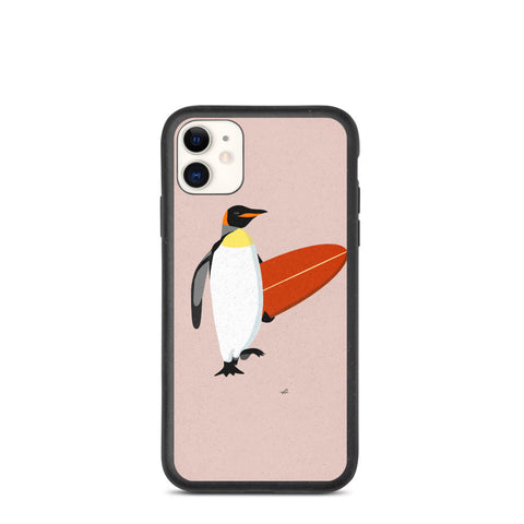 """Surfing Penguin"" Biodegradable Iphone case"