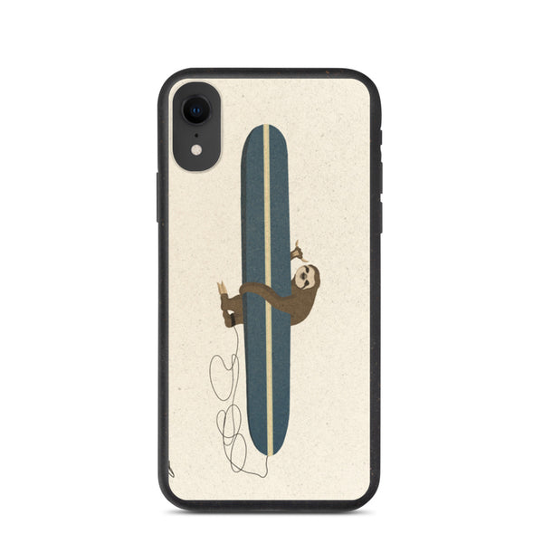 """Surfing Sloth"" Biodegradable Iphone case"