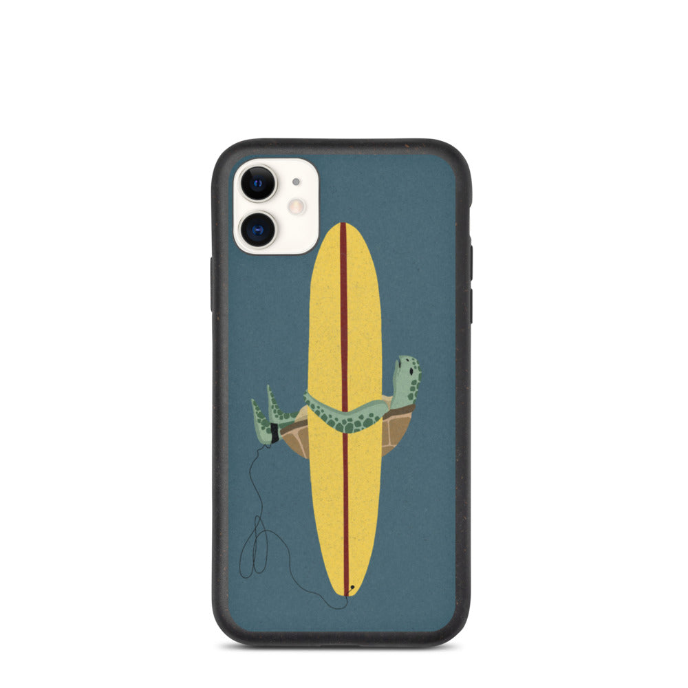 """Surfing Sea Turtle"" Biodegradable Iphone case"