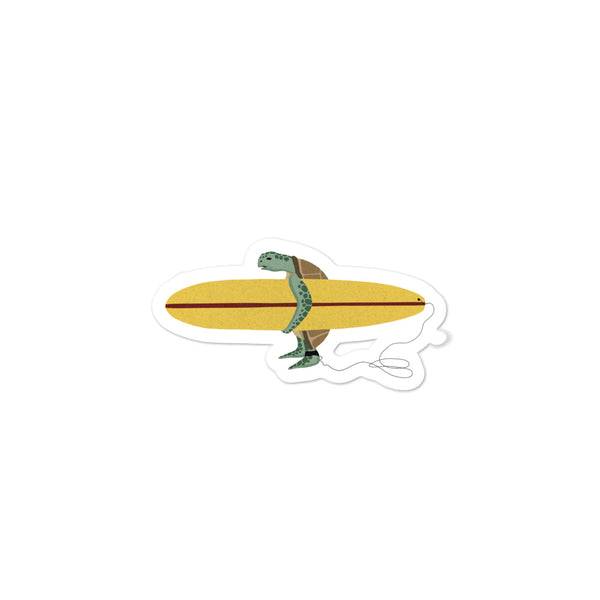 """Surfing Sea Turtle"" Sticker"