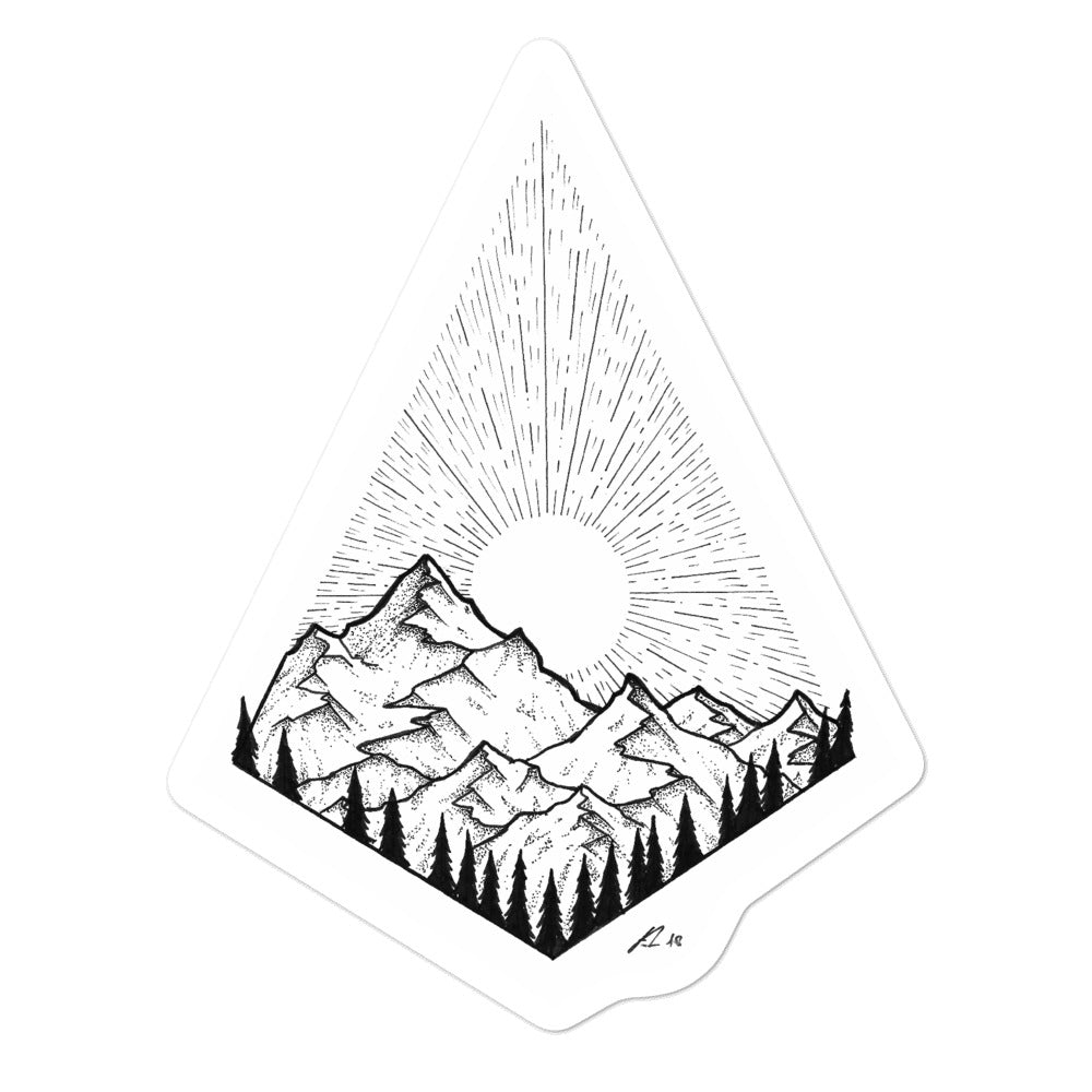 """Mountain Sunset"" Sticker"