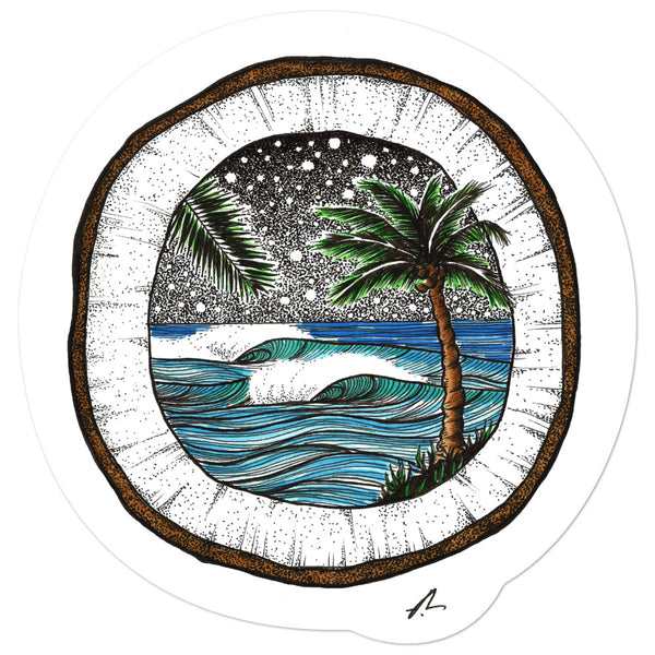 """Coconut Vibes"" Sticker"