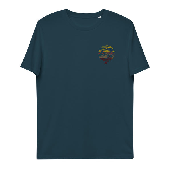 """Mountain lines"" Unisex embroidery organic cotton t-shirt"