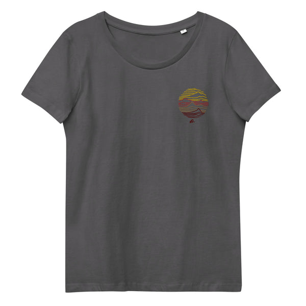 """Mountain lines"" Women's fitted embroidery organic cotton tee"