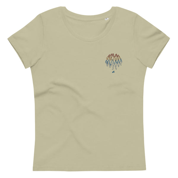 """More trees, less ..."" Women's fitted embroidery organic cotton tee"