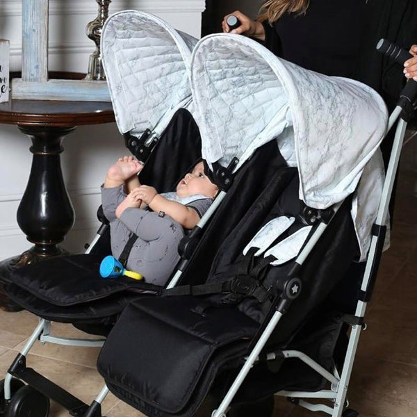 My Babiie Nicole Snooki Polizzi Grey Marble Double Stroller