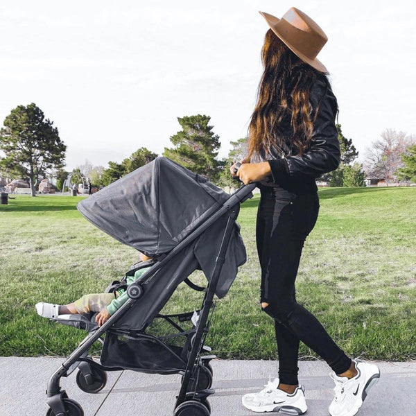 My Babiie Christina Milian charcoal stripes stroller