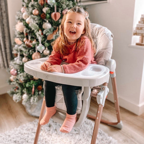 My Babiie Billie Faiers Grey Geometric Rose Gold Highchair
