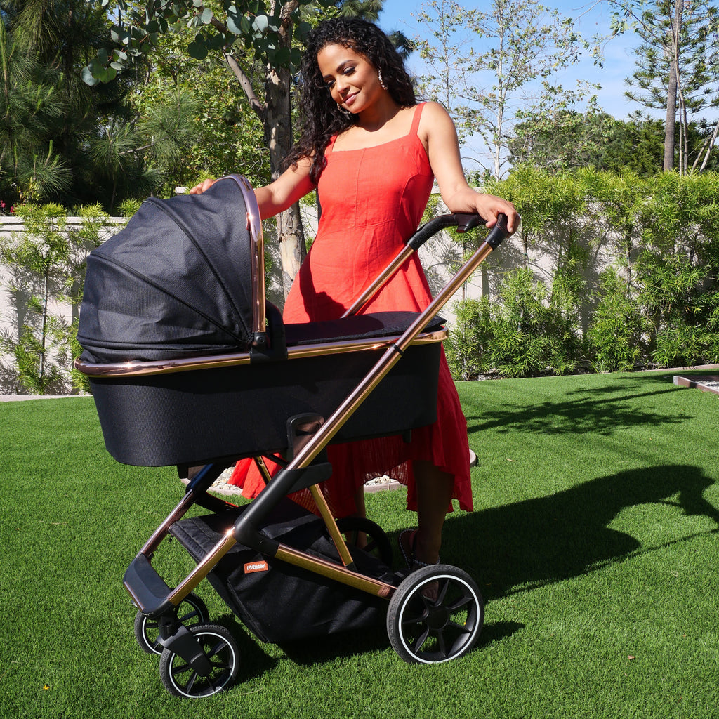 My Babiie Christina Milian Rose Gold and Black Belgravia Travel System