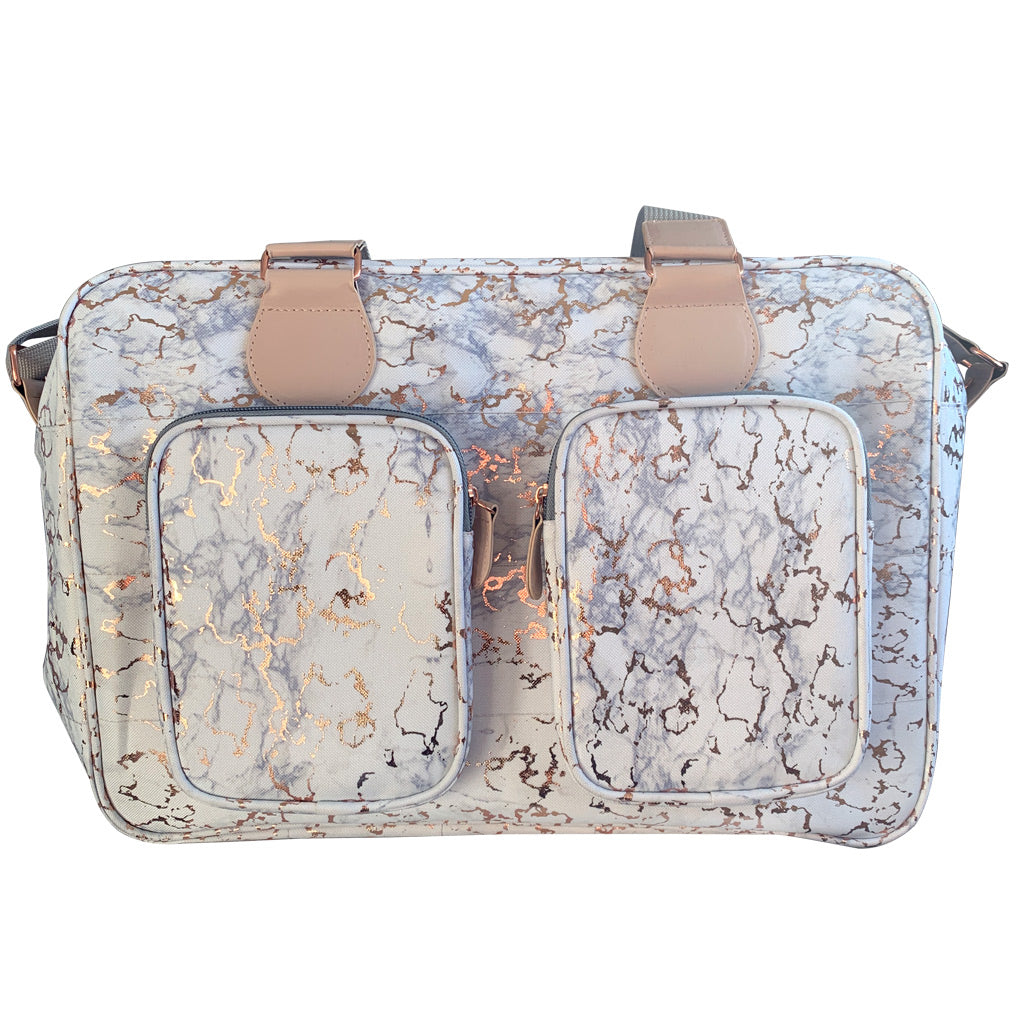 My Babiie Dani Dyer Metallic Rose Gold Marble Deluxe Changing Bag