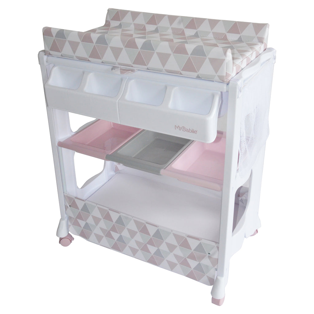 Pink Geometric baby bath and changing unit