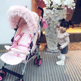 My Babiie Luxurious pink faux fur pram hood trim
