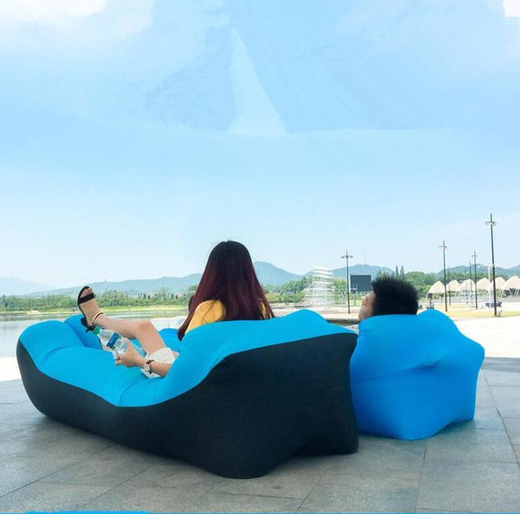 Adult Beach Lounge Chair, Fast Folding Camping Air Bed, Waterproof Inflatable