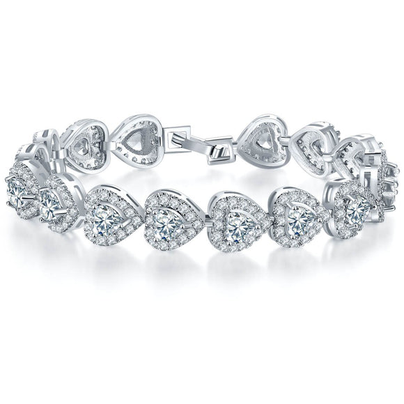 Luxury Heart 925 Sterling Silver Bangle - Bracelet