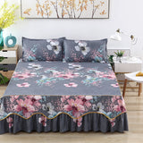 Fashion Soft Sanding Bedspread Anti-skip Wedding Bed skirt Queen King Size No Pilling Fitted Sheet Cover Double Layer Bed Cover