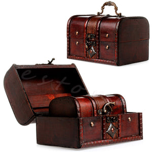 2Pcs Set Wooden Jewelry Storage Box