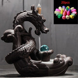 Ceramic Dragon Incense Burner with Crystal Ball + 20 pcs Incense