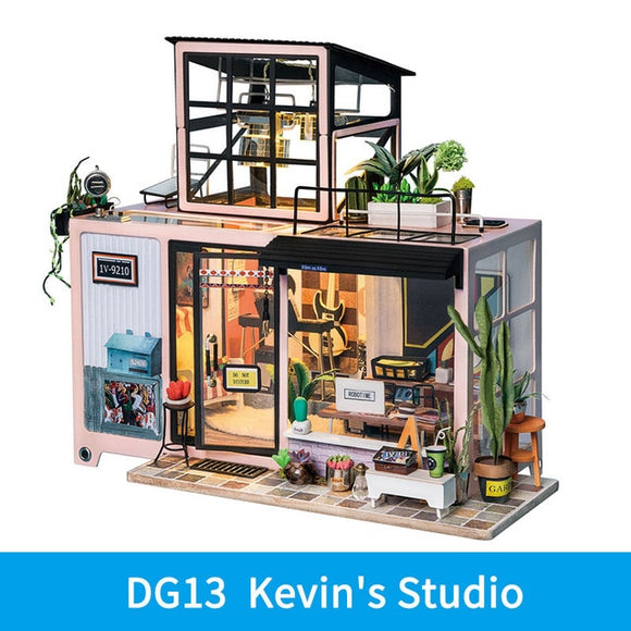 Kevin's Studio DG13 - Robotime DIY Wooden Miniature Dollhouse 1:24 Handmade Doll House Model Building Kits Toys For Children Adult Drop Shipping