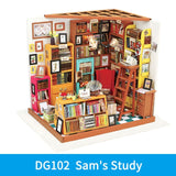 Sam's Study DG102 - Robotime DIY Wooden Miniature Dollhouse 1:24 Handmade Doll House Model Building Kits Toys For Children Adult Drop Shipping