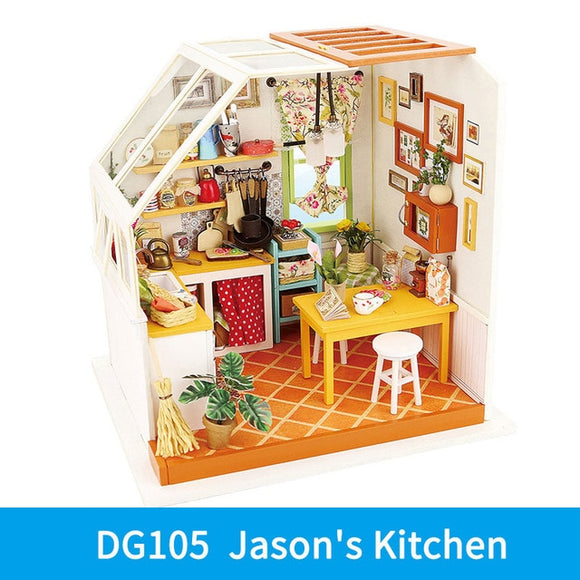 Jason's Kitchen DG105 - Robotime DIY Wooden Miniature Dollhouse 1:24 Handmade Doll House Model Building Kits Toys For Children Adult Drop Shipping