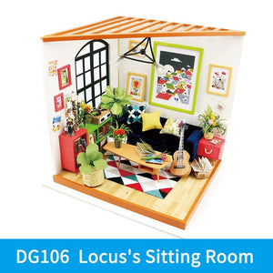 Locus's Sitting Room DG106 - Robotime DIY Wooden Miniature Dollhouse 1:24 Handmade Doll House Model Building Kits Toys For Children Adult Drop Shipping