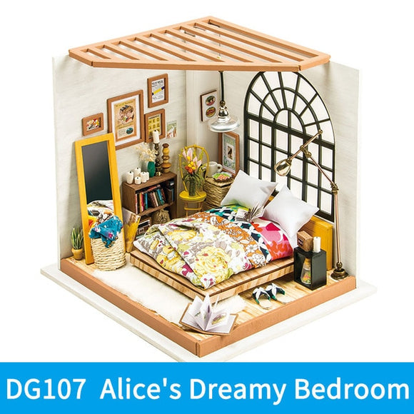 Alice's Dreamy Bedroom DG107 - Robotime DIY Wooden Miniature Dollhouse 1:24 Handmade Doll House Model Building Kits Toys For Children Adult Drop Shipping