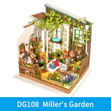 Miller's Garden DG108 - Robotime DIY Wooden Miniature Dollhouse 1:24 Handmade Doll House Model Building Kits Toys For Children Adult Drop Shipping