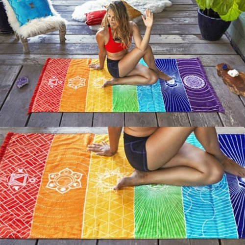 Rainbow Chakra Tapestry Mandala Boho Stripes - Travel Yoga Mat