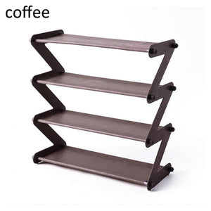 Creative Bookshelf / Shoe Rack / Storage Shelf, 4 Layer Stainless Steel Non-woven Assembly