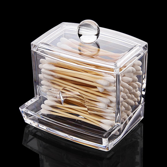 Clear Acrylic Cotton Swabs Sticks Box Holder Cosmetic Storage Box Cotton Pads Container Makeup Organizer Home