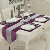 Modern Diamond Velvet Table Runner + 4 Dining Placemats Tablemats Home Decor Wedding Party Decoration NO CUSHION COVER