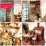 Simon's Coffee DG109 - Robotime DIY Wooden Miniature Dollhouse 1:24 Handmade Doll House Model Building Kits Toys For Children Adult Drop Shipping