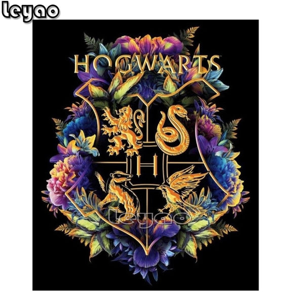 DIY 5D Harry Potter Hogwarts Flower Emblem, Full Diamond Painting Cross Stitch Kit