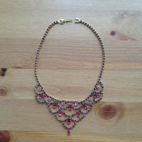 Vintage Pink and Purple Rhinestone Necklace Signed Amael
