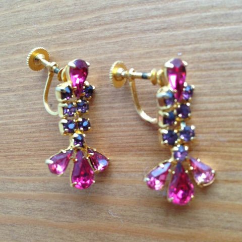Vintage Pink and Purple Rhinestone Earrings Signed Amael