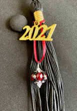 Load image into Gallery viewer, University of Massachusetts at Amherst Gifts -- Handcrafted Crystal & Glass Proud of U.™ Graduation Cap Tassel Charm