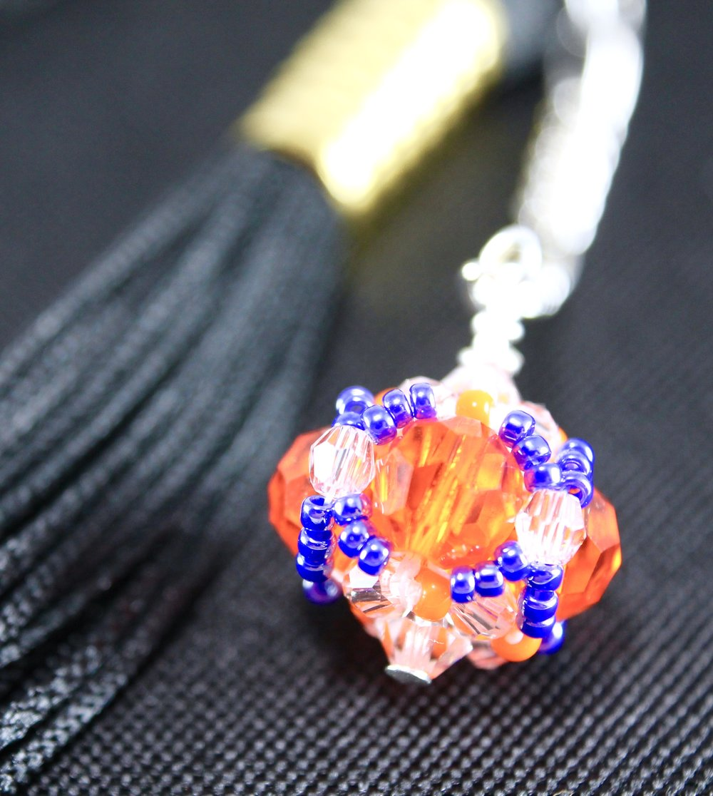 Clemson University Gifts -- Handcrafted Crystal & Glass Proud of U.™ Graduation Cap Tassel Charm