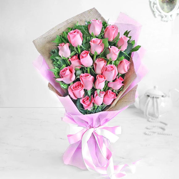 20 Pink Roses Hand Bouquet - Carnations Florist Malaysia
