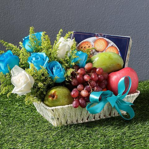 Fruits Basket With Blue Roses - Carnations Florist Malaysia