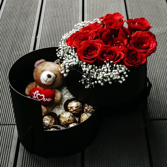 Passion (Red Roses With Baby Breath With Ferrero Rocher & Teddy Bear) - Carnations Florist Malaysia