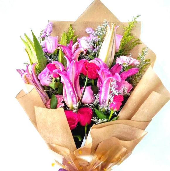 Blushing Blooms Hand Bouquet - Carnations Florist Malaysia