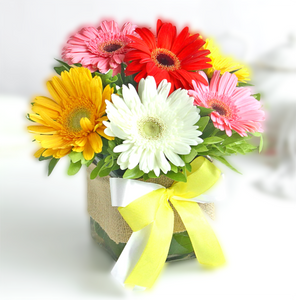 Colorful Gerberas in Vase - Carnations Florist Malaysia
