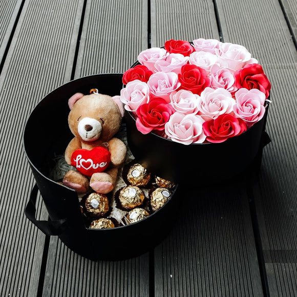 Devotion (Soap Flower Roses With Ferrero Rocher & Teddy Bear) - Carnations Florist Malaysia