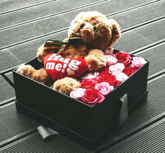 Emotion (Soap Flower Roses & Teddy Bear) - Carnations Florist Malaysia
