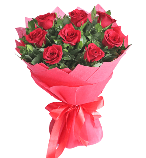 8 Roses Hand Bouquet - Carnations Florist Malaysia