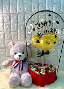 Birthday Balloon with Roses, Choc and Bear - Carnations Florist Malaysia