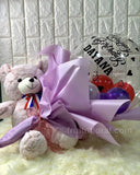 Birthday Balloon Bouquet with Bear - Carnations Florist Malaysia